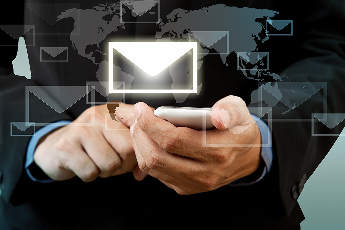 Businessman benefits from email marketing